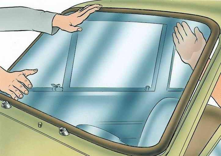 Установка лобового стекла калина