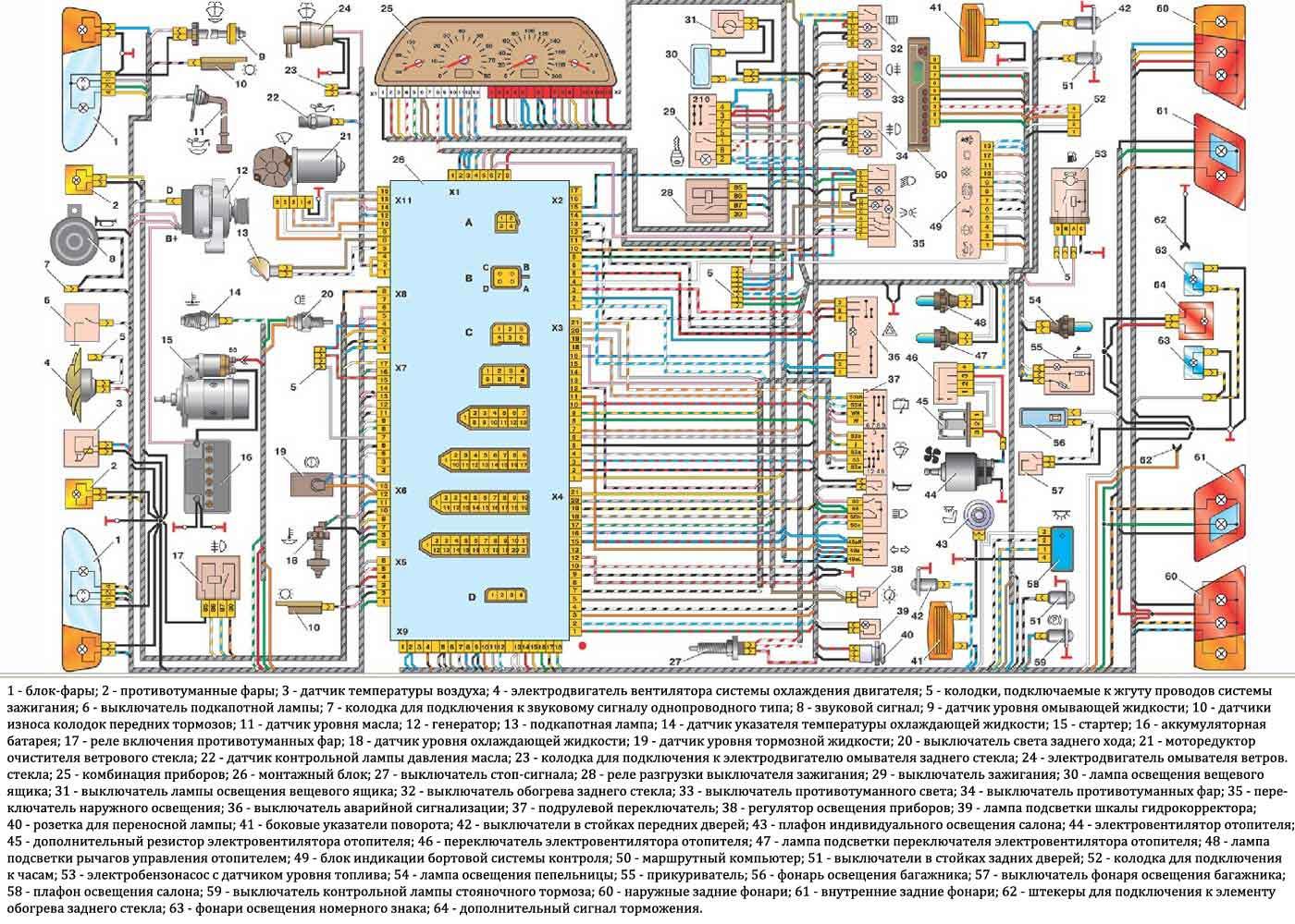 Shema jelektrooborudovanija VAZ 2114 - Схема проводки салона ваз 2114